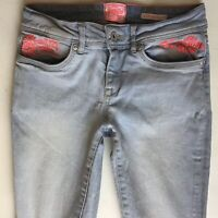 Ladies Superdry Super Skinny Blue Pretty Jeans W26 L30 Uk Size 6 (452)