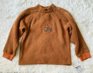 NWT Pampolino Boys Size 8-10 yrs Zipper Mock Neck Fleece Sweter Pullover Orange