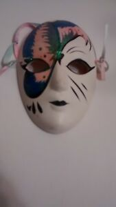 Oriental Decorative Wall Mask, White with Pink & Green Glitter / {Pre-Owned}.