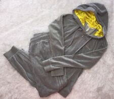 Preowned Women's Adidas NEO Label Athletic Grey Velour Sweatsuit Outfit, Medium