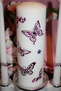 Hot Pink Metallic Foil Butterfly Wedding White Unity Candle Set Tapers