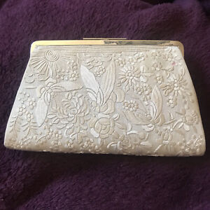 Vintage Art Deco 1920s Cream Chinese Silk Embroidered Butterflies Clutch Bag