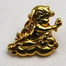 Vintage Lovely Cupid or Angel On Cloud Holding Heart Pin Adorable Valentine J73