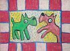 TERRIER AMERICANA Folk Art Print 4 x 6 Dog Collectible Signed Artist KSams