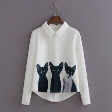 Casual Women Korean White Blouse Long Sleeve Fashion Cats Printed Pullover Shirt