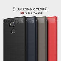 Shockproof Armor Carbon Fiber Hybrid Brush Case Cover For Sony Xperia XA2 Ultra