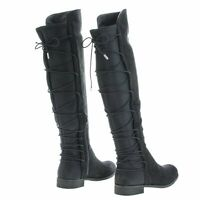 Oksana118 Knee High Riding Boots w/ Stretchy Elastic Back Gore & Laced Design