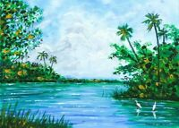 ORIGINAL PAINTING Tropical Coastal Landscape Birds Florida Highwaymen Style Art