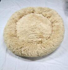 "Large Pet Dog Cat Calming Bed Round Nest Warm Soft Plush Sleeping Bed 38"" Beige"