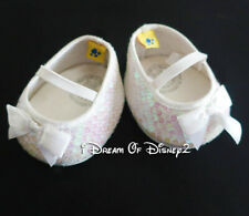 Build-A-Bear WHITE IRIDESCENT SEQUIN BOW FLATS Teddy Size MARY JANE Shoes