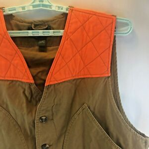 Orvis Men's Upland Shooters Vest Safety Orange Quilted Trim / Recoil Pad XL VGC