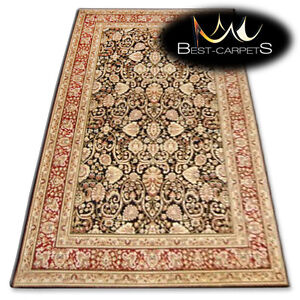 NATURAL WOOL AGNELLA RUGS black flowers thick and durable carpet