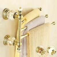 Towel Rack Luxury Crystal Antique Copper Bar Wall Mounted Bathroom Accessories