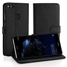 [Neue Version] Huawei P10 Lite Leder Hülle, Simpeak Flip Wallet Case, Schwarz