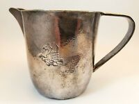 Art Nouveau Art Deco Hand Hammered Silver Pitcher with Embossed Dragon Design