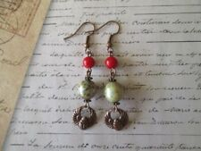 and Egyptian Scarab Charm Copper Earrings Handmade Red Coral, Czech Glass Orb
