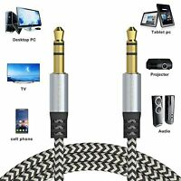 1M Braided 3.5mm STEREO Jack to Jack Aux Cable Audio Lead PC Car Mobile Phone UK
