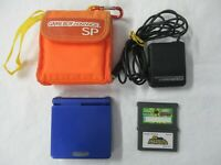 L957 Nintendo Gameboy Advance SP console Azurite Blue & game Adapter Japan GBA