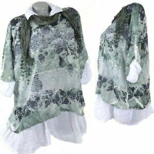 3Tlg Tunika Lagenlook Kleid Netz Schal Twinset Hängerhen Spitze Shirt Grün