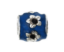 Blue Black Enamel Flower Floral Spacer Charm fits Silver European Bead Bracelets
