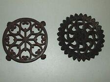 Antique Pair Victorian Ornate Cast Iron Coffee Pot Trivets, One w/ Lion Paw Feet