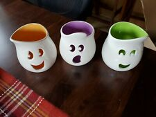 PartyLite Ghouly Tealight Trio Glazed Ceramic Holders Brand New in Box. P9063