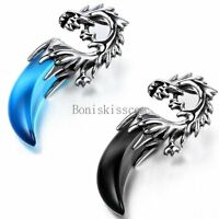 Men's Boys Stainless Steel Wolf Head Tooth Tribal Pendant Necklace w Chain