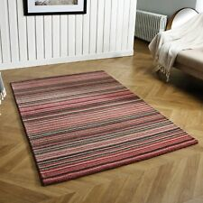 CARTER PINK LUXURY STRIPED WOOL RUG IN VARIOUS SIZES AND RUNNER