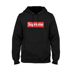 Felpa Supreme Fake logo Hoodie con cappuccio uomo unisex nera bianca o grigia