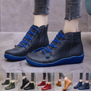 Womens Ankle Boots Casual Lace Up Flats Side Zip Round Toe Winter Shoes Low Heel