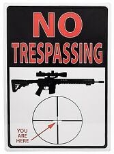 """12"""" x 17"""" Tin Metal Sign No Trespassing You Are Here In Rifle Cross Hairs Beware"""