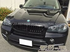 2007-2013 BMW E70 X5 M Wide Look Shiny Black Front Hood Grille Kit Replacement