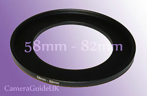 58mm to 82mm 58mm-82mm Stepping Step Up Filter Ring Adapter