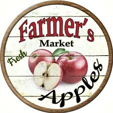"""Farmers Market Apples 12"""" Round Metal Kitchen Sign Novelty Retro Home Wall Decor"""
