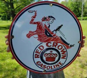 OLD VINTAGE DATED 1934 RED CROWN GASOLINE POLARINE OIL PORCELAIN GAS PUMP SIGN