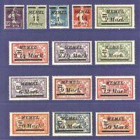 DR Memel Nazi Rare WWI Stamp 1922 Overprint Service Stamp Full Set Mint Memel