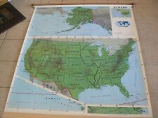 """New ListingVintage Rand McNally U.S. Pull Down Physical Map - 64"""" High & 50"""" Wide"""