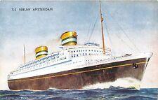 SS NIEUW AMSTERDAM~HOLLAND AMERICAN LINE~ARTIST BERNARD CHURCH~SHIP POSTCARD