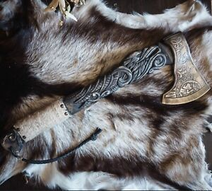 24''INCH SMITH HAND FORGED PREMIUM ENGRAVED RAVEN VIKING AXE WITH LEATHER SHEATH