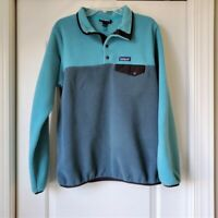 Patagonia Womens Large Synchilla Snap T Fleece Pullover Turquoise Brown 25445