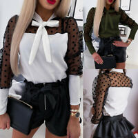 Women Mesh Polka Dot Tops Bow Tie Long Sleeve Slim Casual OL Blouse Shirt Ladies