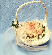 Ivory Satin Flower Girl Basket with Removable Silk Pink & Cream Roses