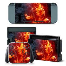 Nintendo Switch Skin Design Foils Aufkleber Schutzfolien Set - Fire Flower Motiv