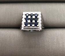 men's ring 18k solid white gold blue Sapphire