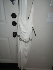 DAVID MEISTER SAKS FIFTH AVENUE DRESS - SIZE 10 - WHITE & CRYSTAL BEADS