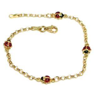 Bracelet Yellow Gold 18K 750, for Girl, 4 Ladybugs Enamel, Alternate, 17 CM