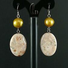 AU SELLER Chic Genuine Natural Moss Agate With Pearls Silver Earrings 030496