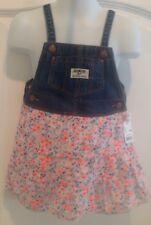 Nwt Oshkosh Overall Dress Denim Floral Skirt Jumper 24 months baby girl
