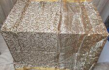 SILK BLEND Antique Vintage Sari Saree Fabric Material 4yd ZZ5 267 Brown #ABER1
