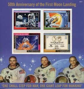 Grenada Space Stamps 2019 MNH Moon Landing Apollo 11 50th Anniv 4v M/S I